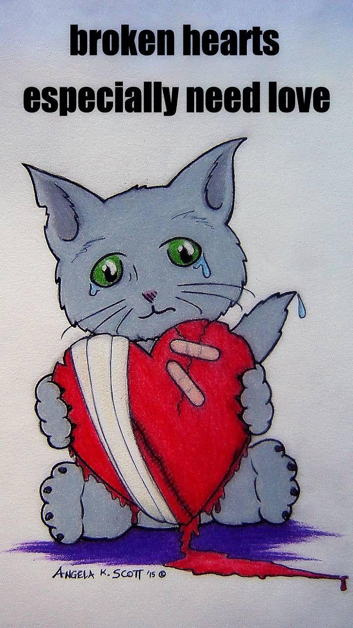 Download Broken Heart Emo Cat Wallpaper by 1ArtfulAngel