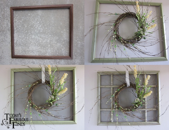 How to make a window from an old photo frame.Crafts Ideas, Fabulous Finding, Today Fabulous, Old Windows, Crafts Projects, Things Start, Picture Frames, Diy Decor, Pictures Frames