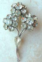 Vintage Clear Rhinestone Flower Posy Brooch.