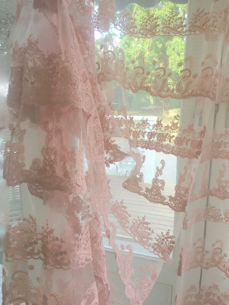 Pink Lace Curtains Window Panels Drapes