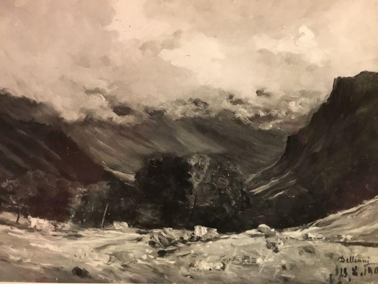 """DELLEANI LORENZO ( Pollone Biella ) 1840- Torino 1908. """" paesaggio montano"""" Olio su tavola- Opera firmata. cm. 44,4x30,4."""
