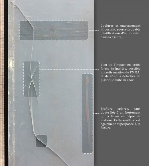 Restoring Lumino-Kinetic art Mobile Lumineux 130, 1966, et Mobile Lumineux 267B (Bleu), 1970, made by Nino CALOS (1926 - 1990) Olivier Steib (Fig. 6 Cracks and scratches analysis of the PMMA screen)