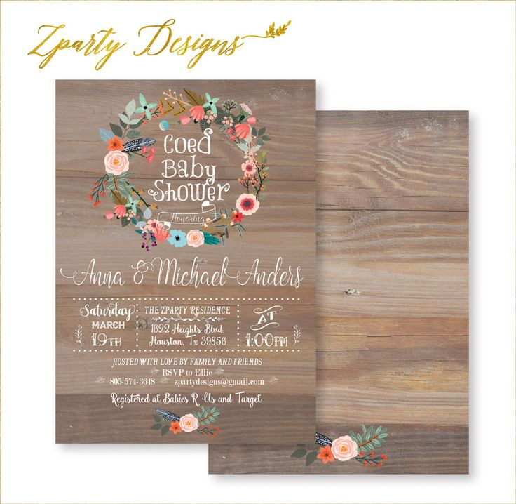 Co-ed Baby Shower, Coed Shower Invitation, Coed Baby Shower Invite, Vintage Wood Coed, Wood Co-ed Invite, Summer Flowers, Co-ed Party Invite by ZPartyDesigns on Etsy https://www.etsy.com/listing/279935804/co-ed-baby-shower-coed-shower-invitation
