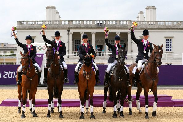 """(L) Princess Zara Phillips, Mary King, William Fox Pitt, Kristina Cook, Nicola Wilson """"The Great Britain team won Silver medal in the Team Jumping Final Equestrian event."""