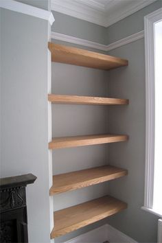 fireplace recess shelving - Google Search