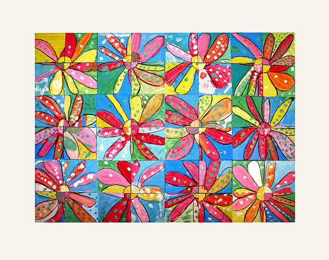 Collaborative piece.  Each student made a flower which was cut into quarters and reassembled to make this beautiful collaborative work.