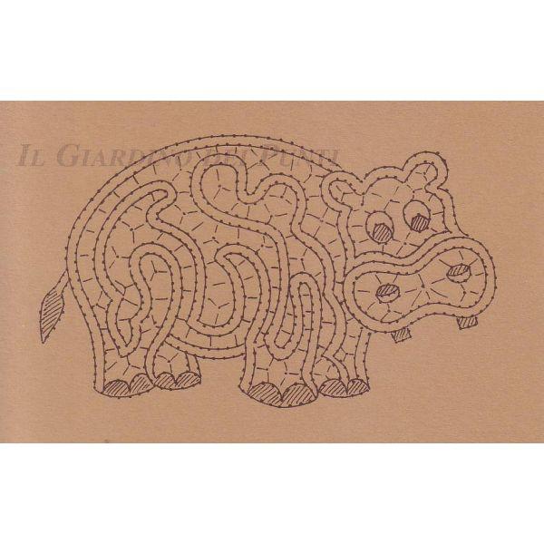 Disegno Ippopotamo n. 131 - Il Giardino dei Punti, Circolo di ricami, pizzi e decori