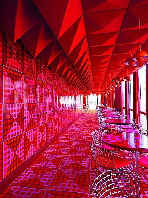 Red and Fuchsia makes a statement at The Spiegel Canteen in Hamburg, Germany.