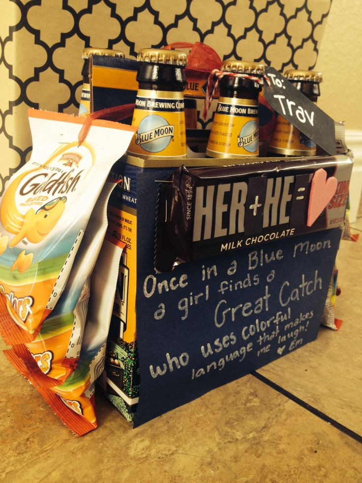 """""""Her+He=❤️ Once in a BLUE MOON a girl finds a GREAT CATCH who uses colorful language and makes me laugh""""  My V-day gift to my boyfriend: blue moon beer, goldfish, Hershey's chocolate bar A Lori Roe Creation"""