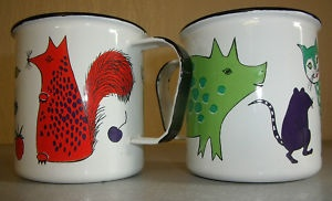 Finel enamel mugs (pattern Nooan Arkki). I still have these little enamel cups I bought for my daughters in 1972.  Sweet!