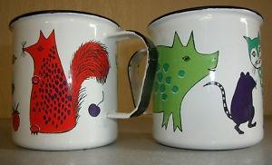 Finel enamel mugs (pattern Nooan Arkki). I still have these little enamel cups I bought for my daughters in 1972.  Sweet!