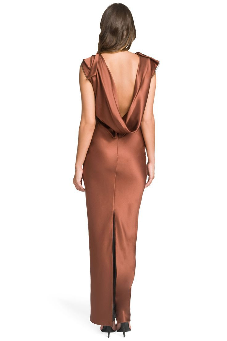 Copper Satin Gown Copper Wedding Inspiration For Jenny Buckland Hair And Make Orange Bridesmaid Dresses Metallic Bridesmaid Dresses Copper Bridesmaid Dresses