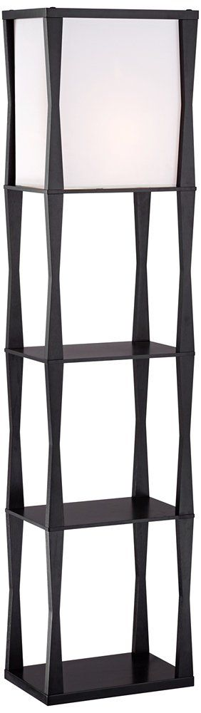 Haiku Etagere Floor Lamp. Wood construction. Ebony finish. Drop-in box linen shade. Use as an end table or office accent. On/off pull chain switch.