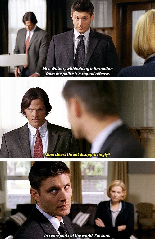 [gifset] Supernatural 3x14 Long Distance Call || In some parts of the world, I'm sure ~ Dean ... ☜(⌒▽⌒)☞ LMAO #SPN #Dean #Sam