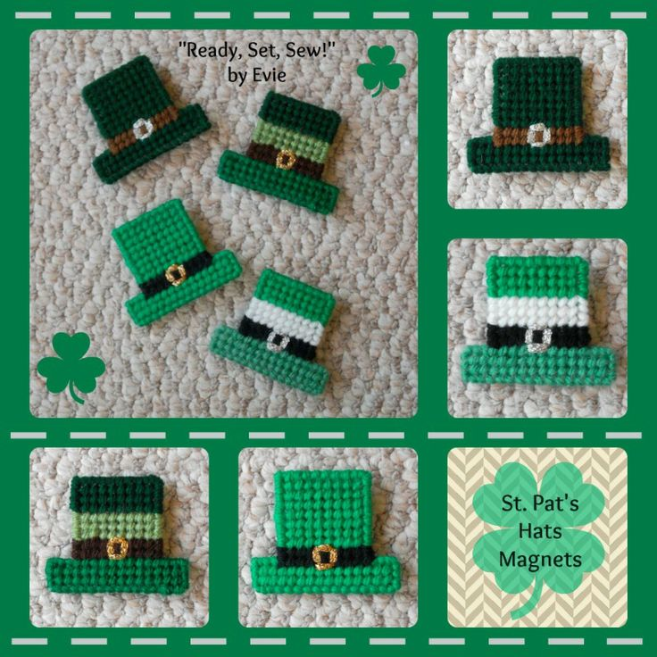 """Plastic Canvas: Saint Pat's Hats Magnets (set of 4), """"Ready, Set, Sew!"""" by Evie: https://www.etsy.com/listing/180868796/plastic-canvas-saint-pats-hats-magnets?ref=shop_home_feat_2 -- Hats off to Saint Patrick's Day. . .times 4! :)"""