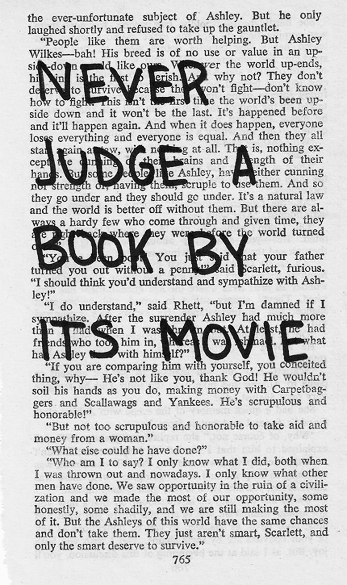 never judge a book by its movie... DOMI's a reader, and a strong movie critic.