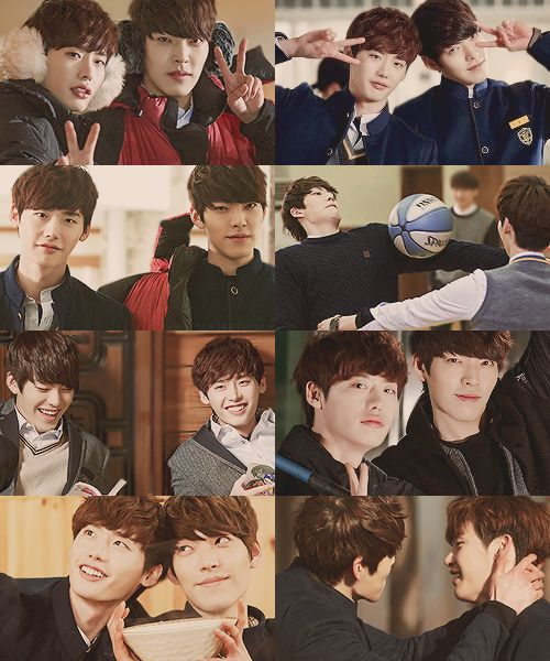 Lee Jong Suk & Kim Woo Bin @ School 2013 - In front and Behind the scene bromance