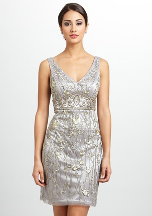 The Perfect New Years Eve Dress!--SUE WONG Beaded V-Neck Dress $179.99