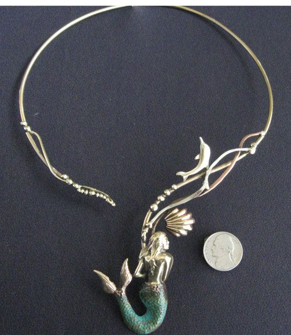 MERMAID NECKLACE choker torque with dolphin by coltenjewelry, $128.00