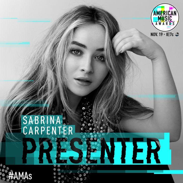 Skiddly-dee-da-dum-dum... Sabrina Carpenter will be presenting at the AMAs 2017!  This Sunday at 8/7c on ABC. // @sabaribello