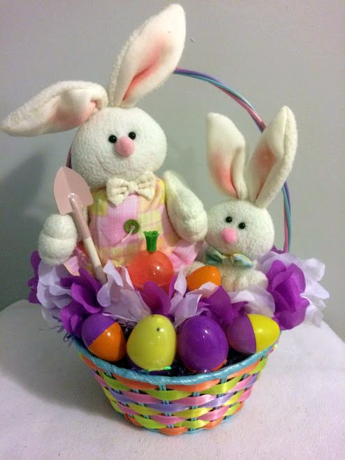 3527 best all ebay items images on pinterest wine gifts 20 ebay easter bunny pals gift basket handmade negle Images