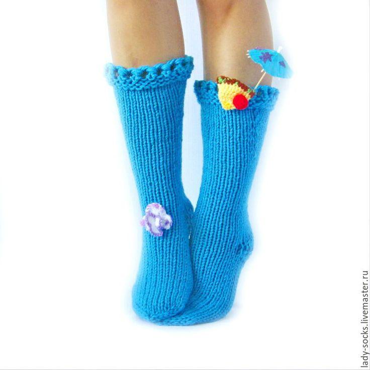 Купить Носки-Коктейль Голубые Гавайи Доставка бесплатно - носки вязаные, Носки шерстяные
