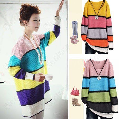 Free Shipping Fashion Lady Loose Scoop Neck Casual Color Stripes Sweater Long Knitwear 10% off $13.49