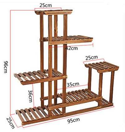 flowerpot rack carbonized wood flower plant indoor floor living room balcony frame multi-layer flowerpot rack