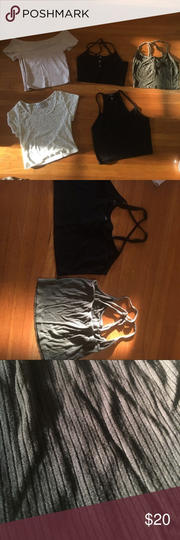Crop Top Bundle Bundle crop tops! All gently used. From varied brands such as Forever21, PacSun, H&M. The top left is a soft pink color and off the shoulder. Though the bottom black and white top are both tagged as medium they run very small. I am an extra small/small in nearly everything and sized up on these. Willing to separate bundle and change price if you don't want all of them! Let me know if you have any questions :) NOT ACTUALLY UO, only tagged for likes! Happy poshing Urban…