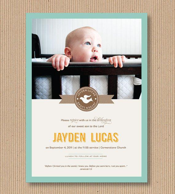 Boy Baptism, Christening or Dedication Invitation,  5x7 PRINTABLE - Spiritual Dove