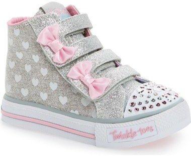 SKECHERS 'Twinkle Toes - Shuffles' High Top Sneaker (Walker & Toddler)