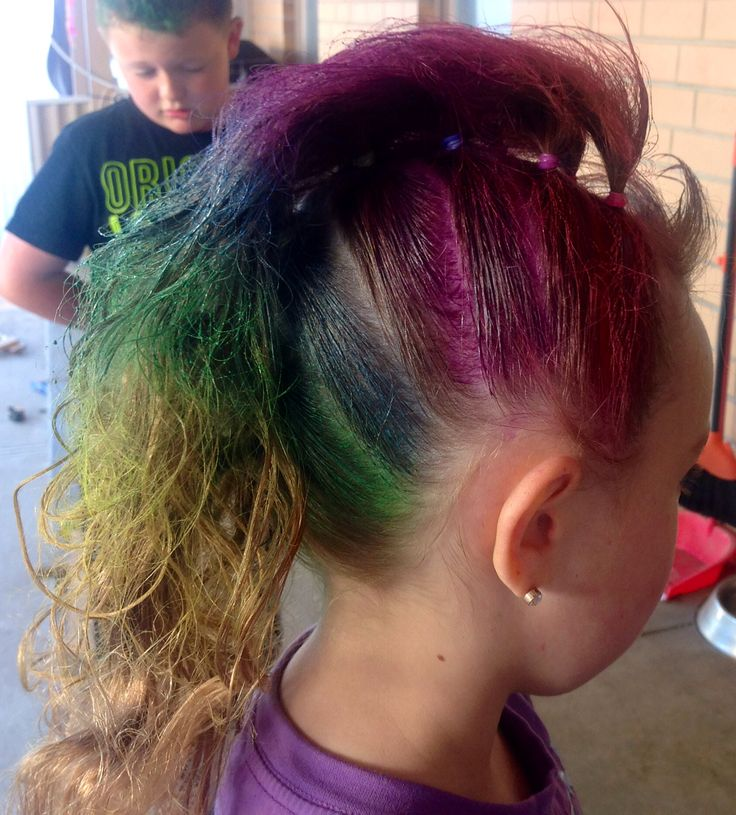 CRAZY hair day. Rainbow Mohawk/ my little pony rainbow mane.