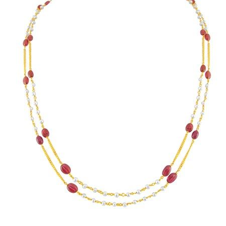 Jpearls 2 Lines Designer Gold Chain with Rubies and Pearls   Double-Strand Gold Chain