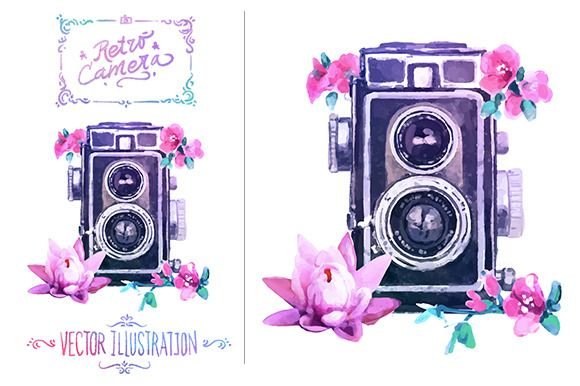 Vector watercolour camera by Krol on @creativemarket