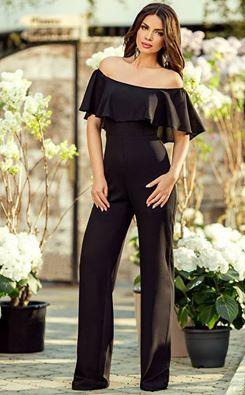 Elegant black jumpsuit with romantic ruffle on top: https://missgrey.org/en/jumpsuits/elegant-black-jumpsuit-with-ruffle-and-off-shoulder-design-silvie/532?utm_campaign=aprilie&utm_medium=salopeta_silvie_neagra&utm_source=pinterest_produs
