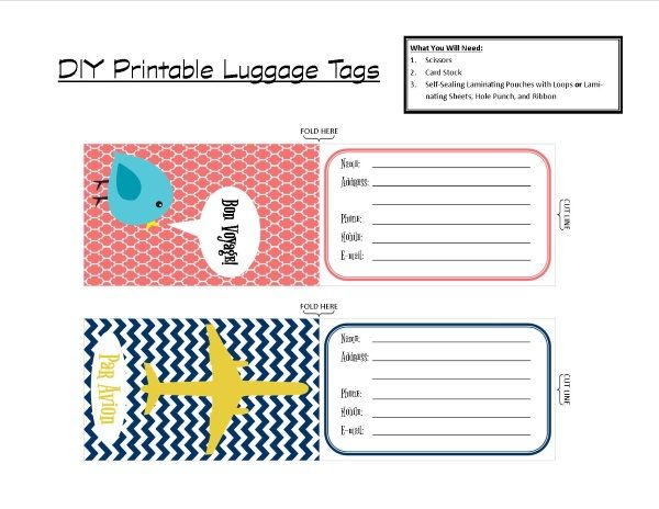 Create your own luggage tags quickly and simply with only a few supplies and a free printable. Helps identify your luggage in a sea of black bags!!
