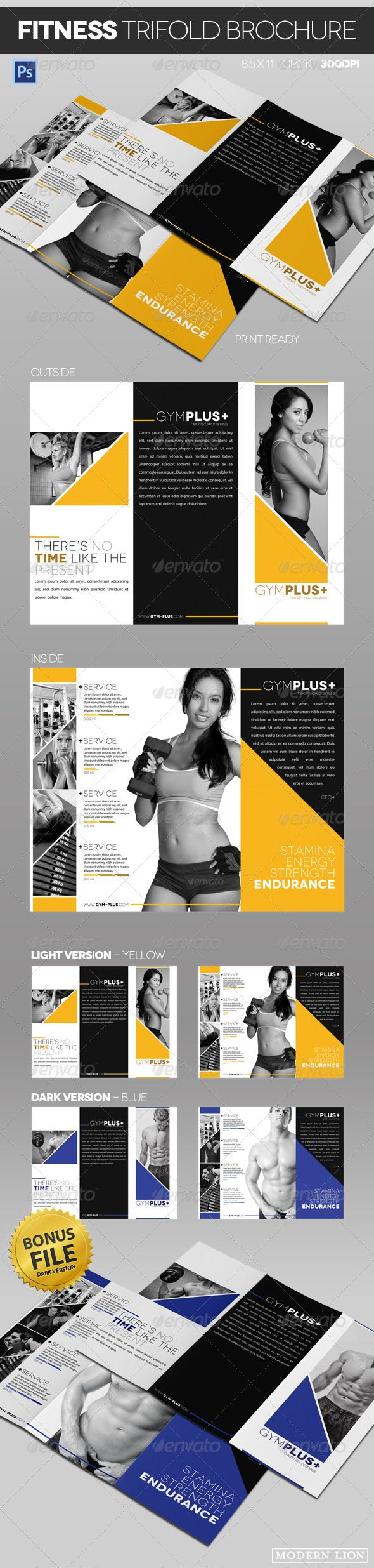 """Fitness Gym Trifold Brochure  #GraphicRiver        Fitness Gym Trifold Brochure: Sleek and modern fitness gym trifold brochure that comes in 2 color variations, dark and light (yellw and blue). Well organized layers in Photoshop. Great for brand new gym's or established fitness centers.  Please rate!   Features: - Fully Layered Adobe Photoshop .PSD files - 2 trifold Brochures color variations - Standard Letter size, 8.5"""" x 11"""" with bleeds - Print Ready, CMYK, 300 DPI - Guides for Bleed…"""