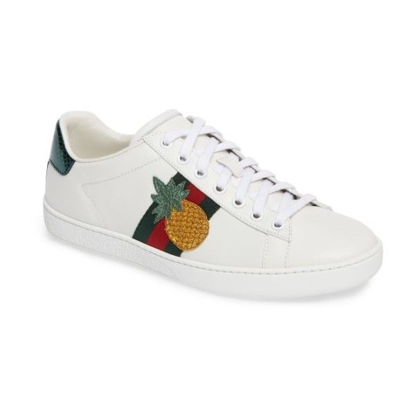 Women's Gucci New Ace Pineapple Sneaker (8.270.185 IDR) ❤ liked on Polyvore featuring shoes, sneakers, white leather, gucci, gucci shoes, pineapple sneakers, white sneakers and white leather trainers