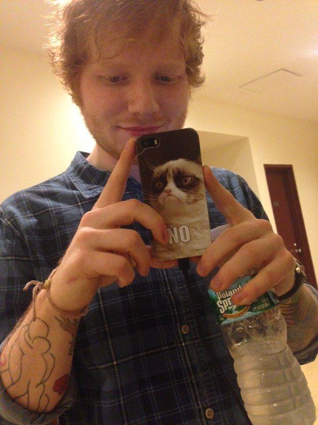 "1:02 p.m.: Ed has a Grumpy Cat phone case! | Inside Ed Sheeran's Insane ""Multiply"" Day In New York"
