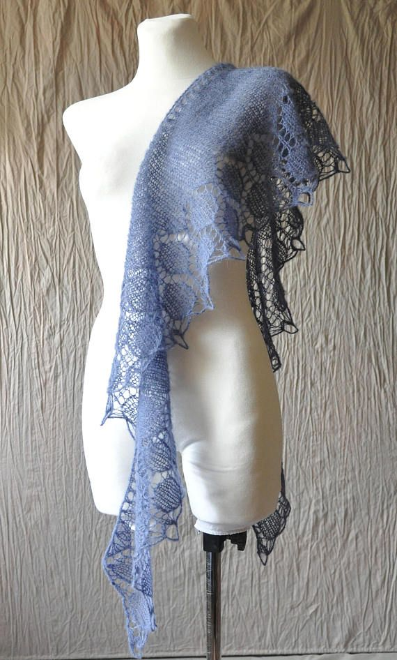 Denim Blue Hand Knit Shawl - modern scarf made of soft yarn (blend of alpaca and silk). Scarf is crescent shape and is adorned with beautiful lace edge. This beautiful scarf will be great addition to your winter coat. It could be also a great gift.  Shawl is soft, delicate and very light (weighs approx 50g). Color: denim blue, antiqued aqua. Because of different monitors and screen resolutions, color may look different on the screen than reality.  Measurement: length: approx. 156 cm [61.4]…