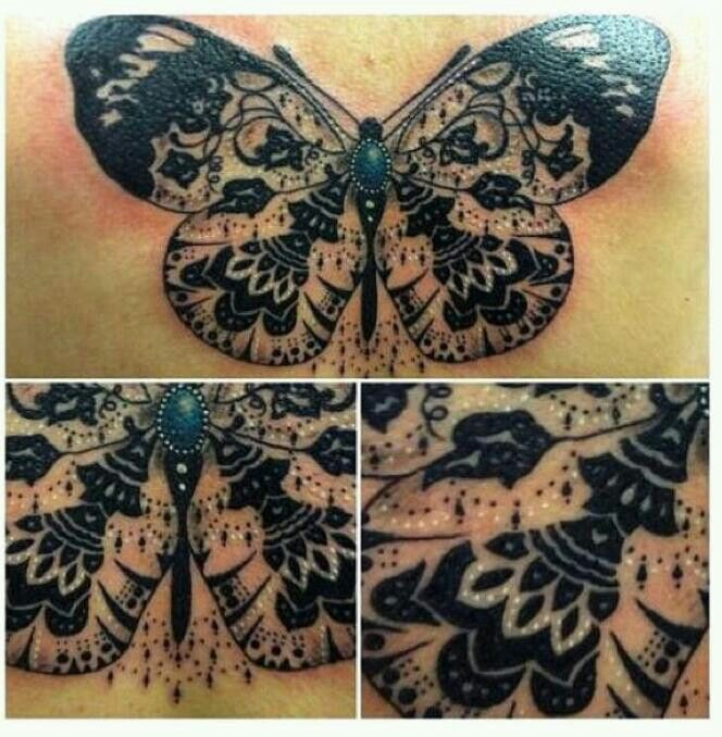 Butterfly tattoo  chest detail lace