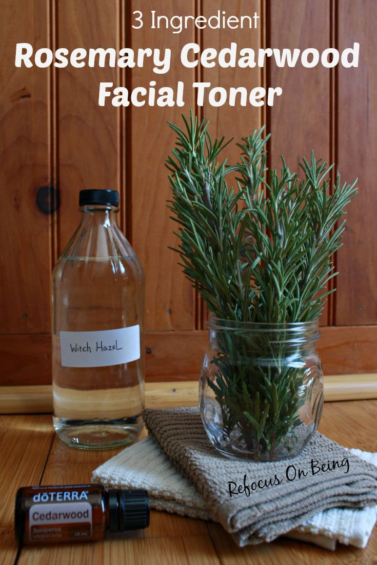 Learn to make your own DIY 3 Ingredient Facial Toner, infused with dried rosemary and cedarwood essential oil - Refocus Omn Being (on Scratch Mommy)