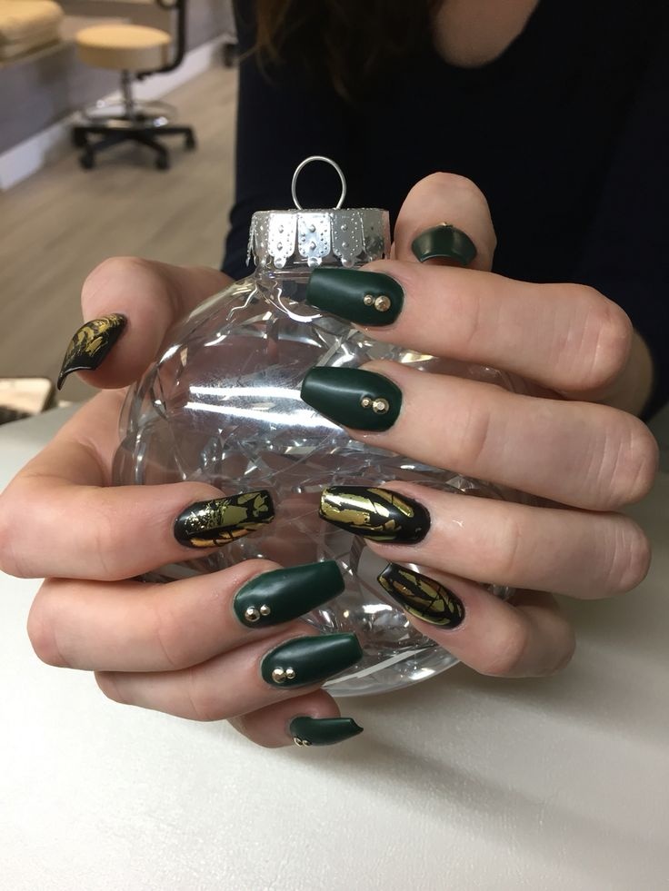 OPI green and black polish, matte top coat, gold accents, ballerina/coffin shape