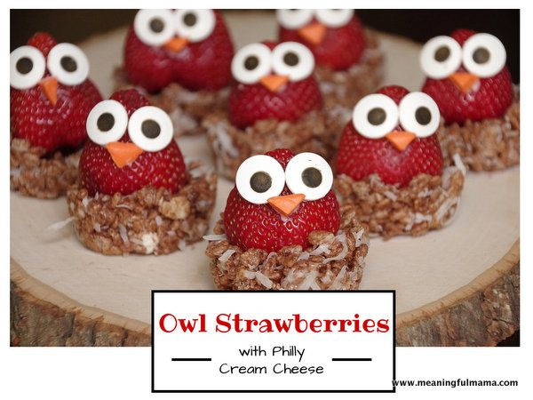 Adorable or what?? Owl Strawberries made with Philadelphia cream cheese - Meaningful Mama