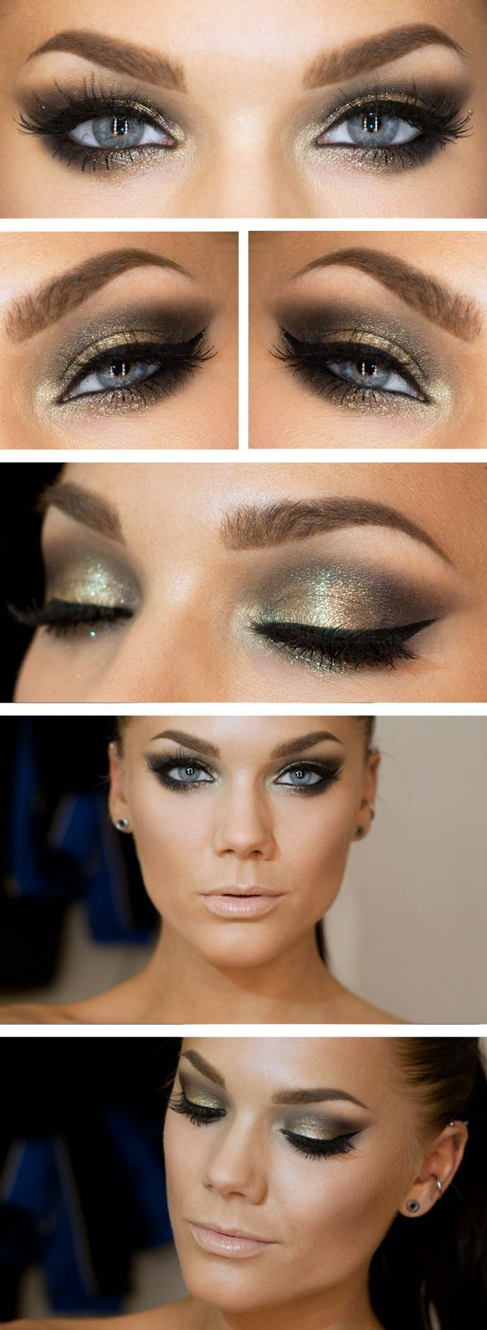 Green/gold eyes and nude lips #makeup