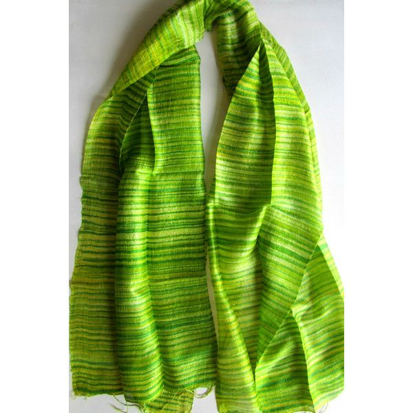 Green Natural Silk Hand Dyed Handwoven Batik Shawl Wedding Gift Wedding Accessories Thai Raw Silk Handmade Light Weight Silk Shawl For Her (€25) found on Polyvore featuring women's fashion, accessories, scarves, lightweight shawl, silk scarves, lightweight scarves, silk shawl and shawl scarves