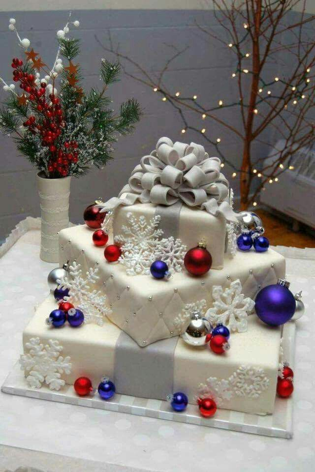 Red white and blue christmas wedding cake