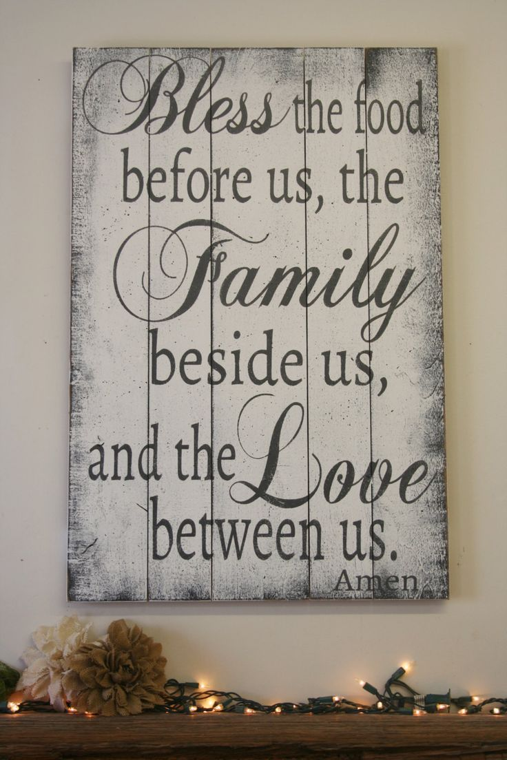 Bless the food pallet sign wood kitchen sign dining room for Shabby chic dining room wall art