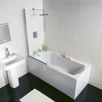 homebase 359 buttermere straight shower bath 1500mm - Bathroom Tiles Homebase