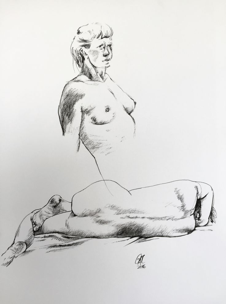 Narinda in Two Forms, by Geoff Coleman, 2016. Charcoal on paper, 59cm x 84cm (mounted with perspex frame) #drawing #lifedrawing #study #female #nude #geoffcoleman #ormond